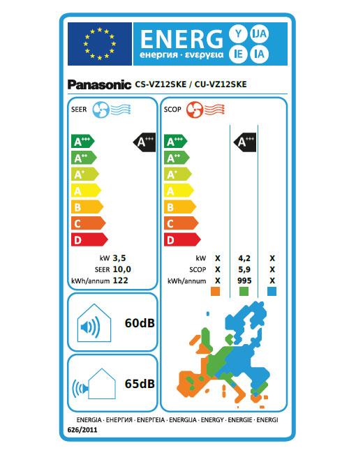 Panasonic Energetska nalepka za klimo CS-VZ12SKE
