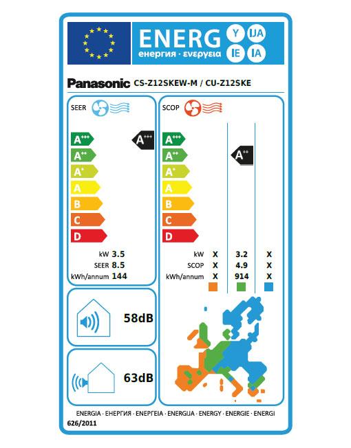 Panasonic Energetska nalepka za klimo CS-Z12SKEW-M