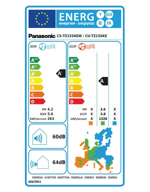 Energetska nalepka za klimo Panasonic KIT-TZ15SKE