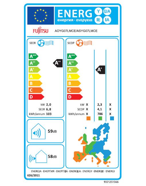 Energetska nalepka za klimatsko napravo Fujitsu notranja enota: ASYG07LMCE, zunanja enota: AOYG07LMCE