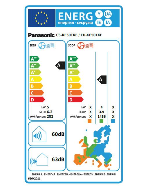 Energetska nalepka za Panasonic KIT-KE50TKE klimatsko napravo.