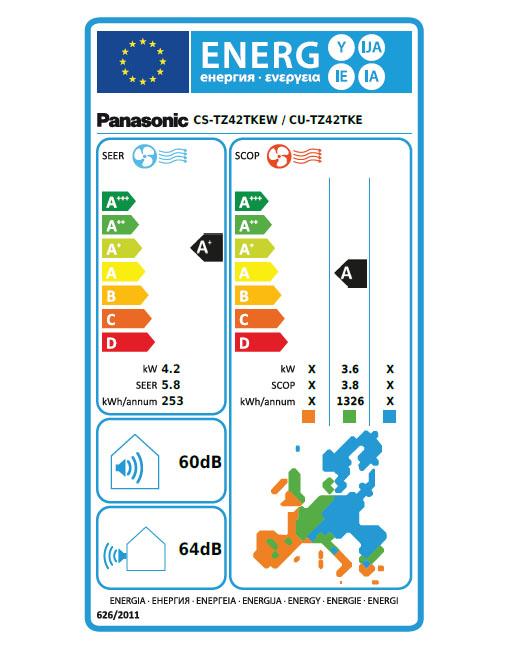 Panasonic CU-TZ42TKE / CS-TZ42TKEW energetska nalepka